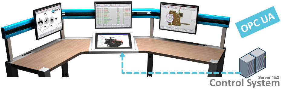 The RIVOPS console is designed with efficiency in mind. In this example, we are looking at a fire & gas detection panel. The Operational map (left), alarm-list (center), the fire & gas detection panel (right) and the alarm overview panel (center low) displayed on  stylus-driven tablet .