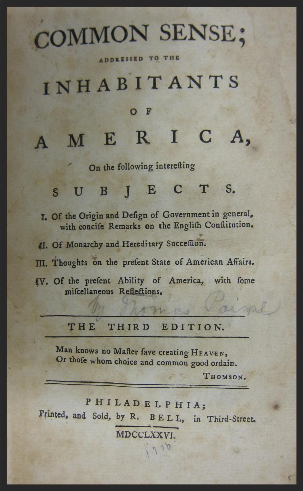 An original copy of Thomas Paine's Common Sense.
