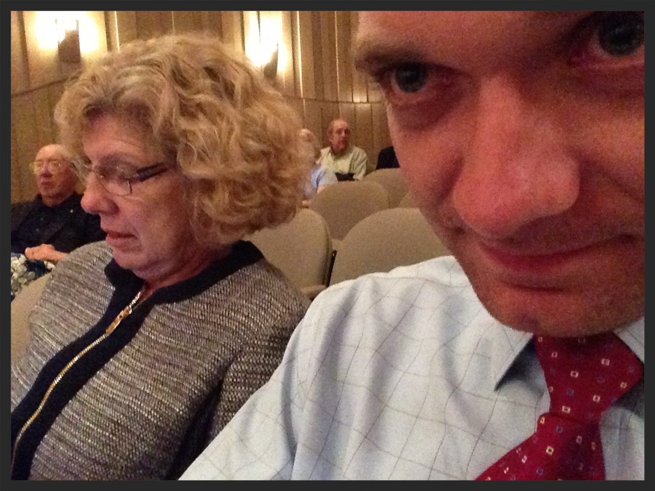 Doc Richards and I sitting in the auditorium.