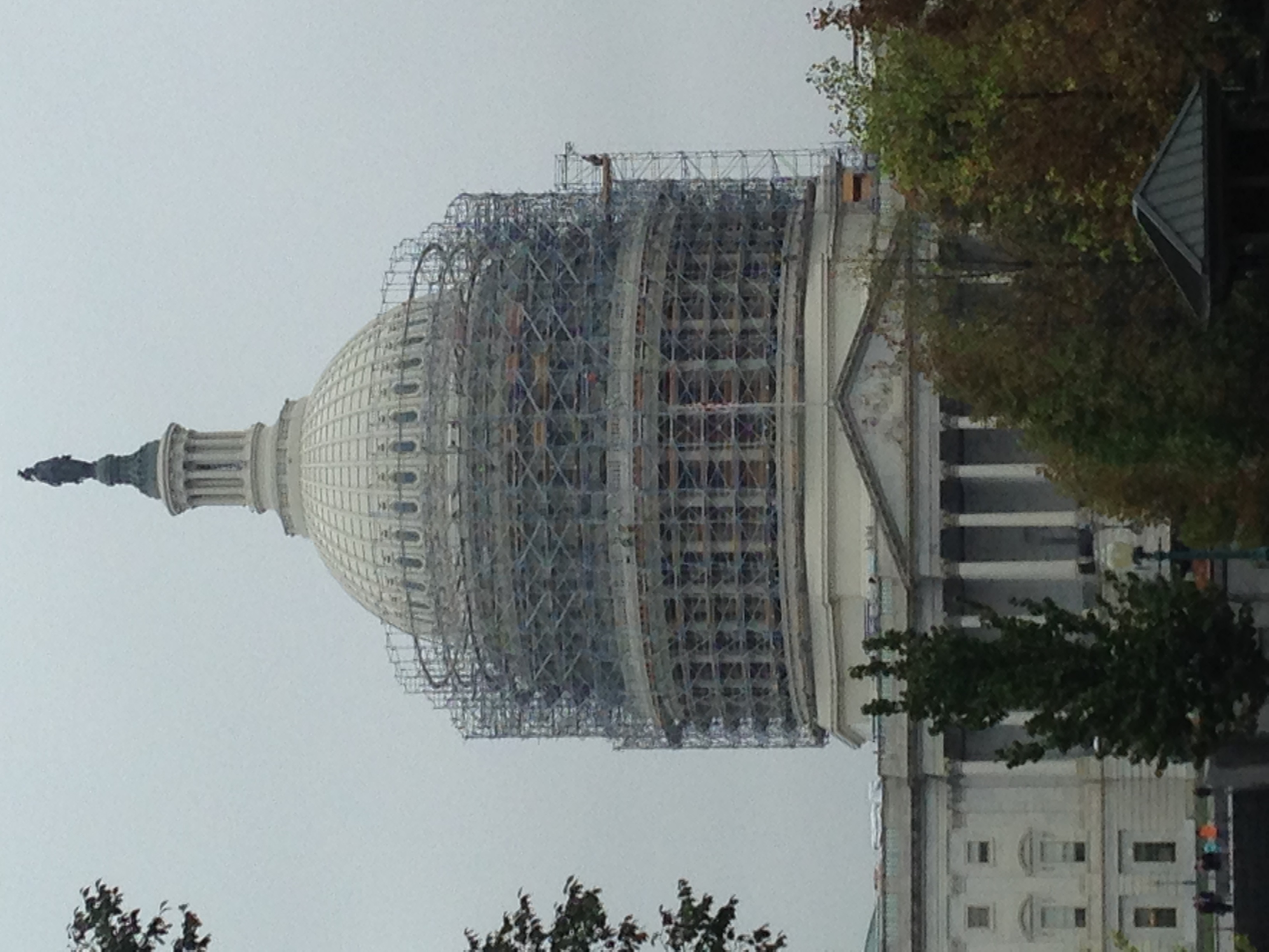 From the steps of the Library of Congress you can get a good look at the restoration work underway on the Capitol Dome.