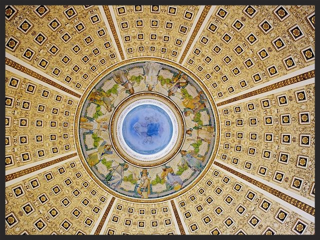 This gorgeous rotunda sprawls overhead of the main reading room (Image: Library of Congress).