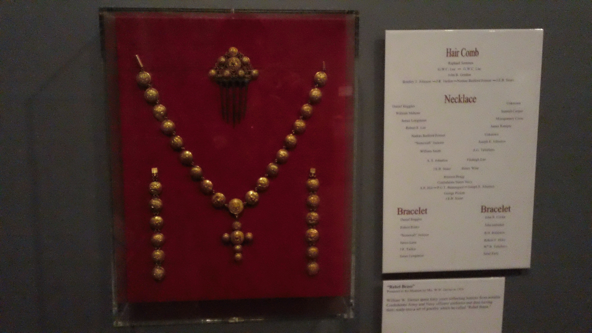 A necklace of uniform buttons assembled from famous Confederate generals.