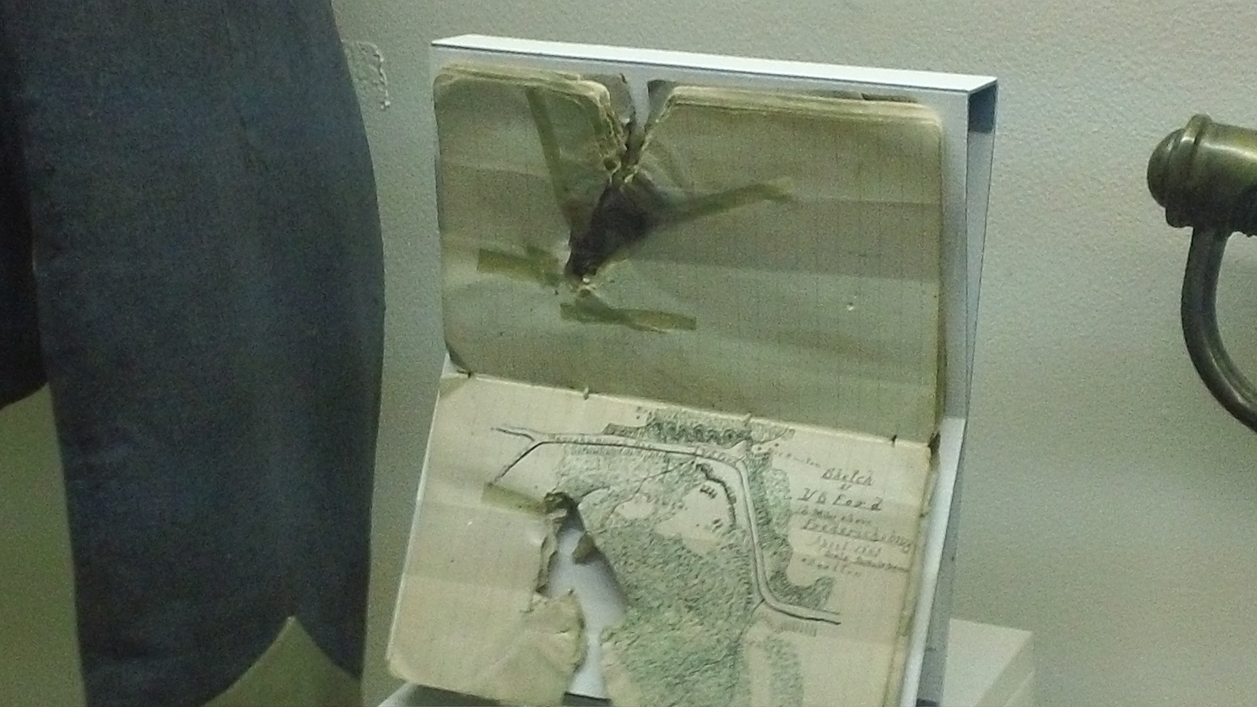 The field notebook of James Boswell, pierced by a bullet. A member of Stonewall Jackson's staff, Boswell was killed in the same confused flurry of friendly fire which also hit Stonewall.