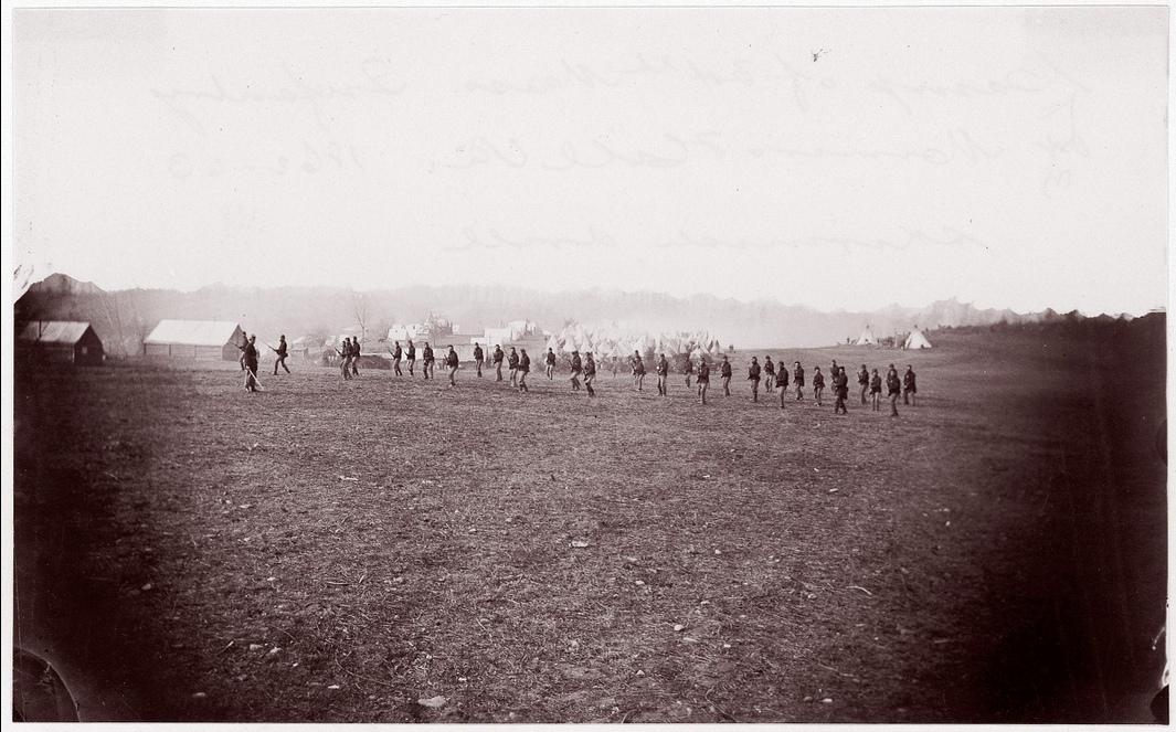 Soldiers of the 34th Massachusetts executing a bayonet drill.