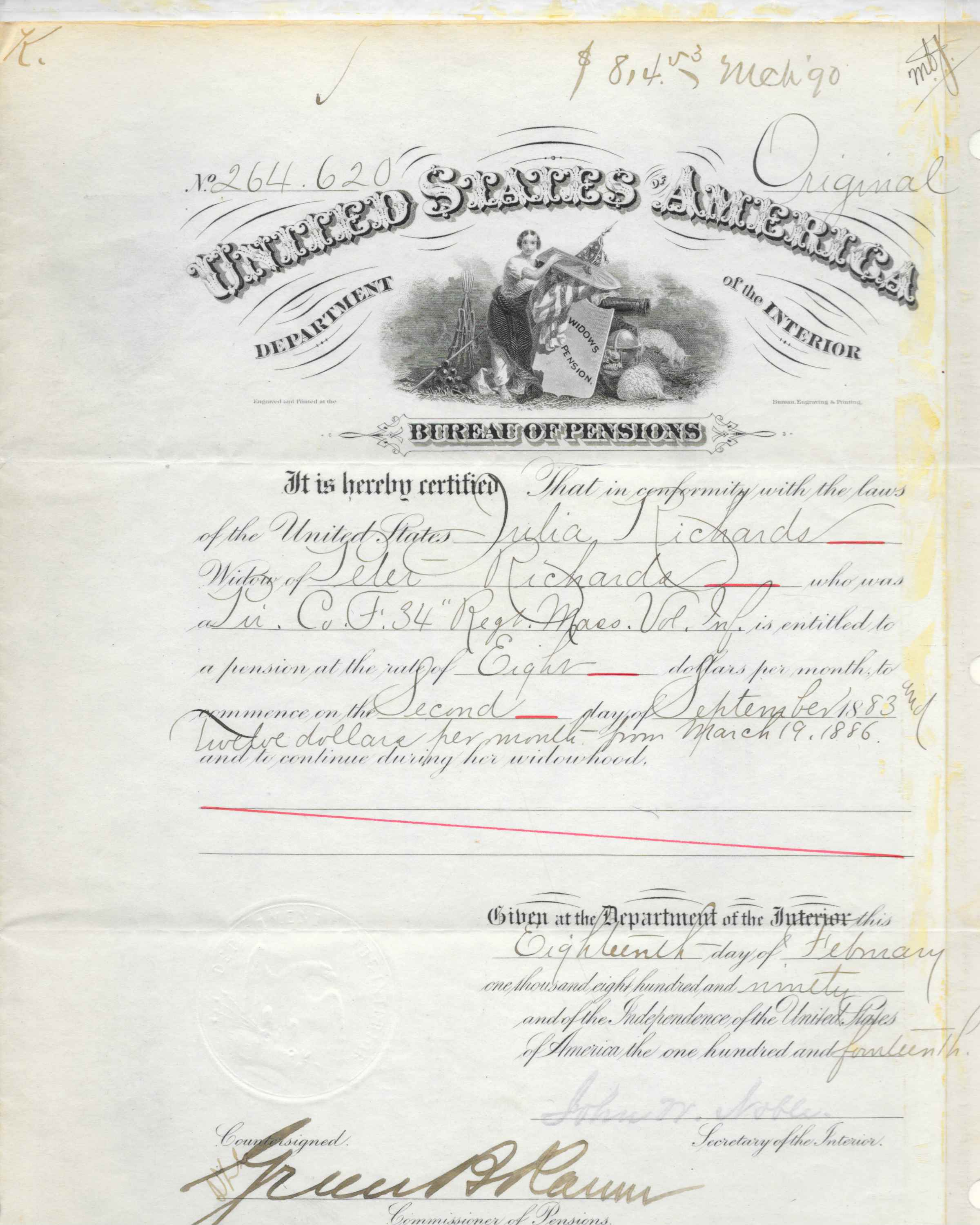 The certification of Julia Richards' pension.