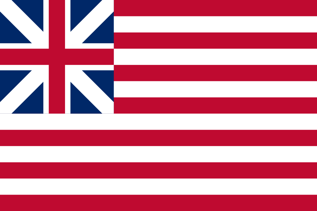 The Grand Union Flag:  This is what happens when the British Union Jack and the American Stars and Stripes make a baby.