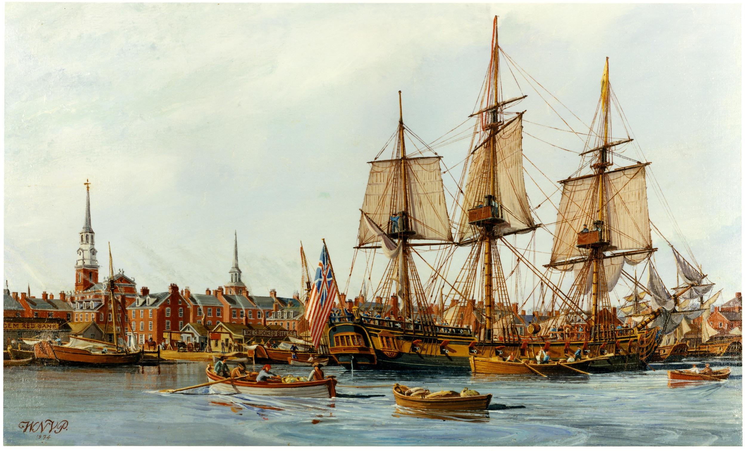 The USS Alfred flies the 'Grand Union Flag' over her stern in Philadelphia Harbor, 1775.