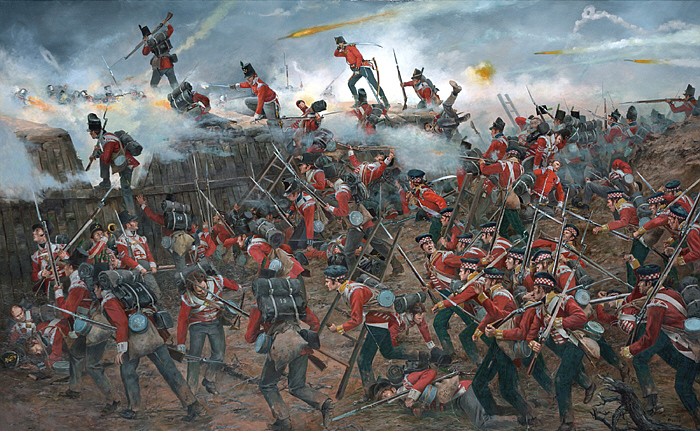 The Brits would storm the Levee Redoubt with great loss at the highpoint of the battle.