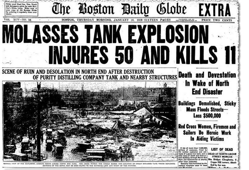 A headline of the disaster from the Boston Daily Globe