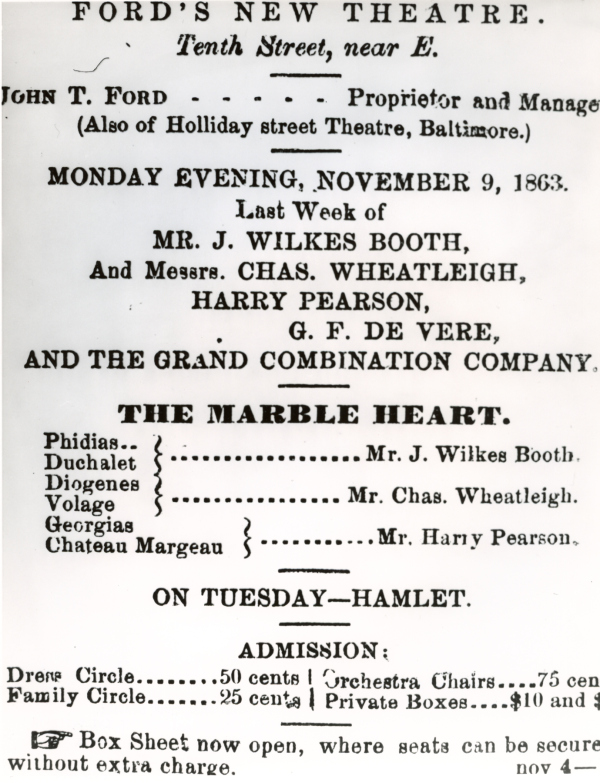 Playbill for The Marble Heart.