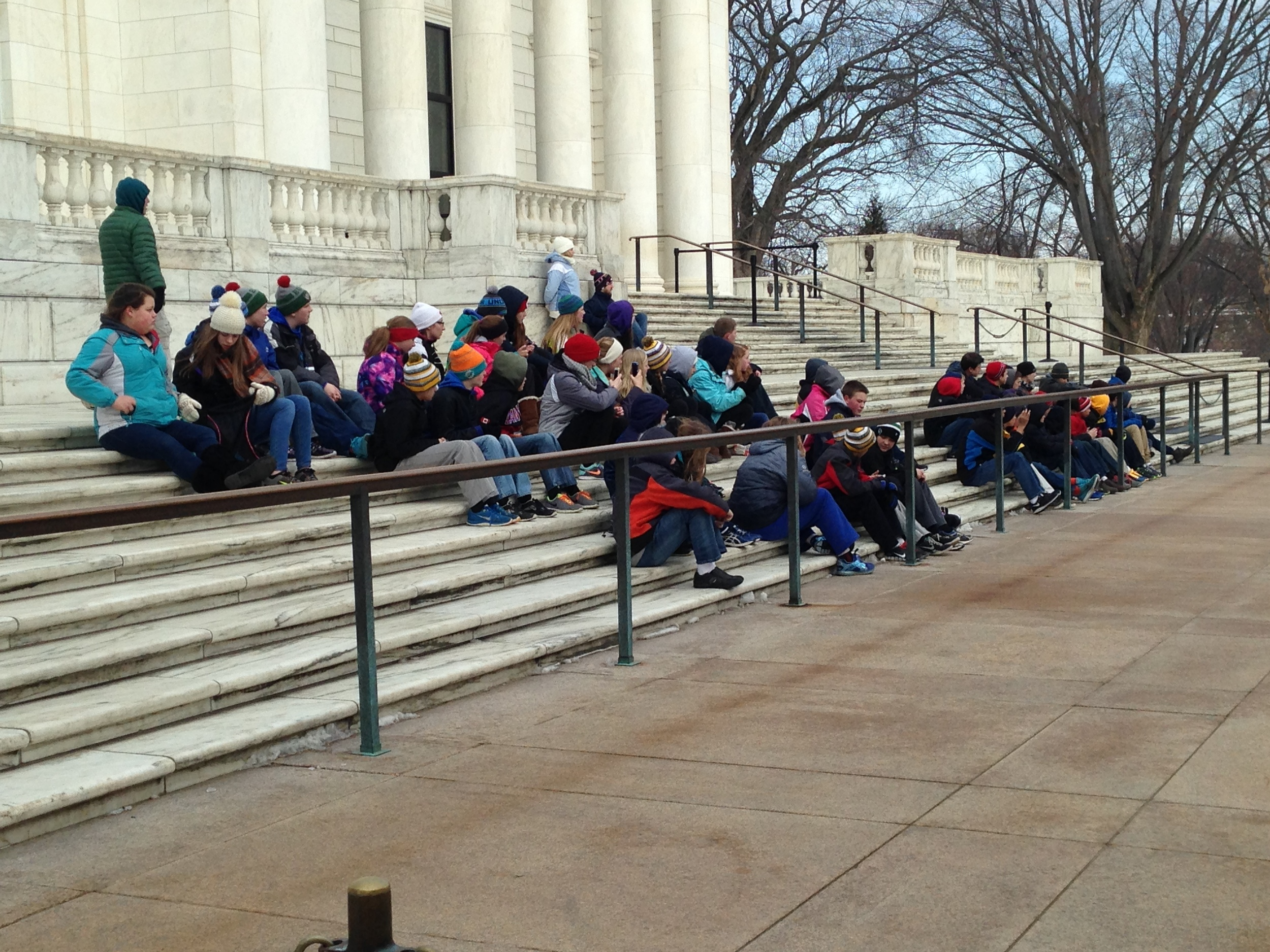 The kids get in position to watch the changing of the guard.