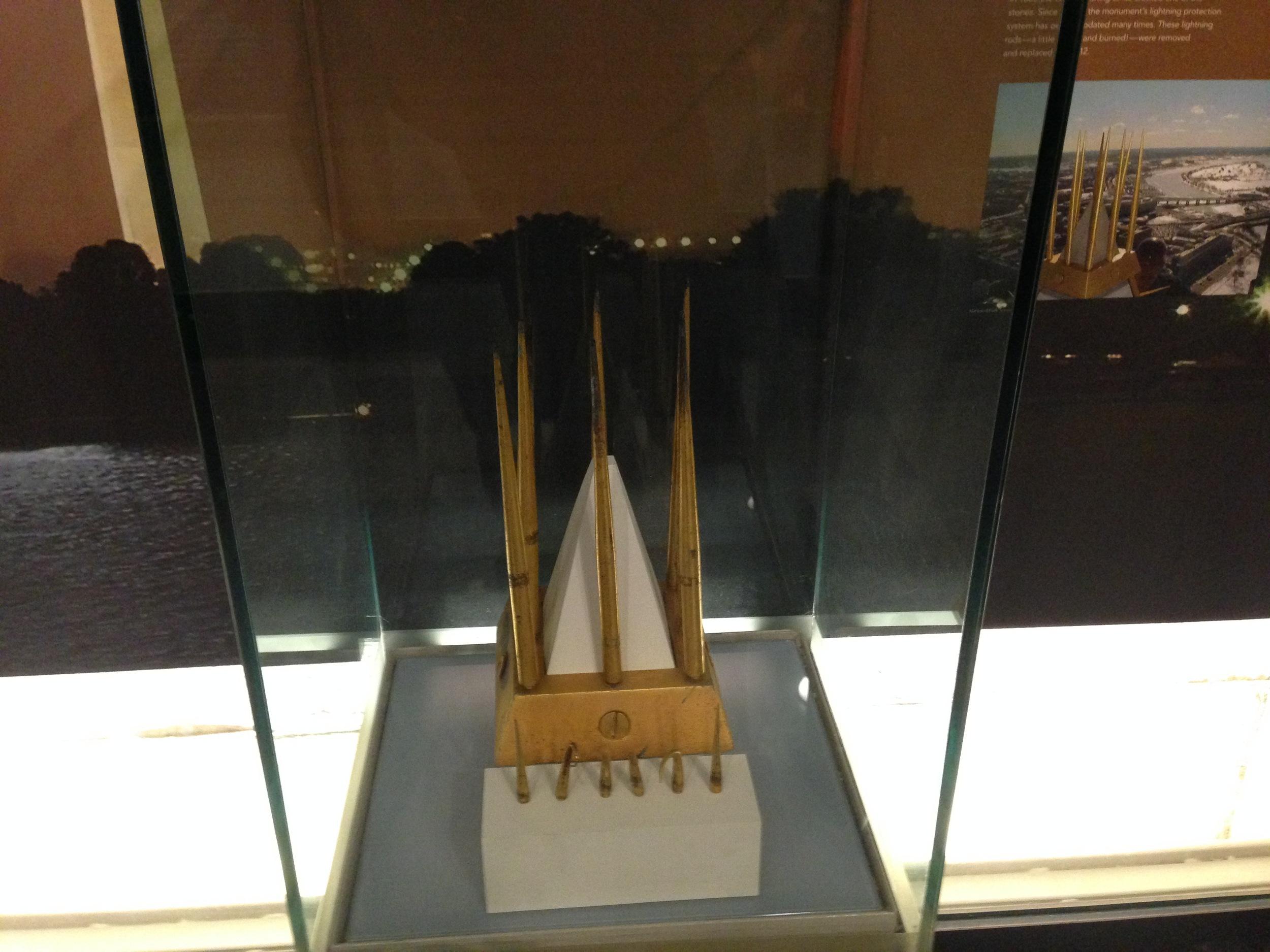 Spent lightning rod display at the Washington Monument.