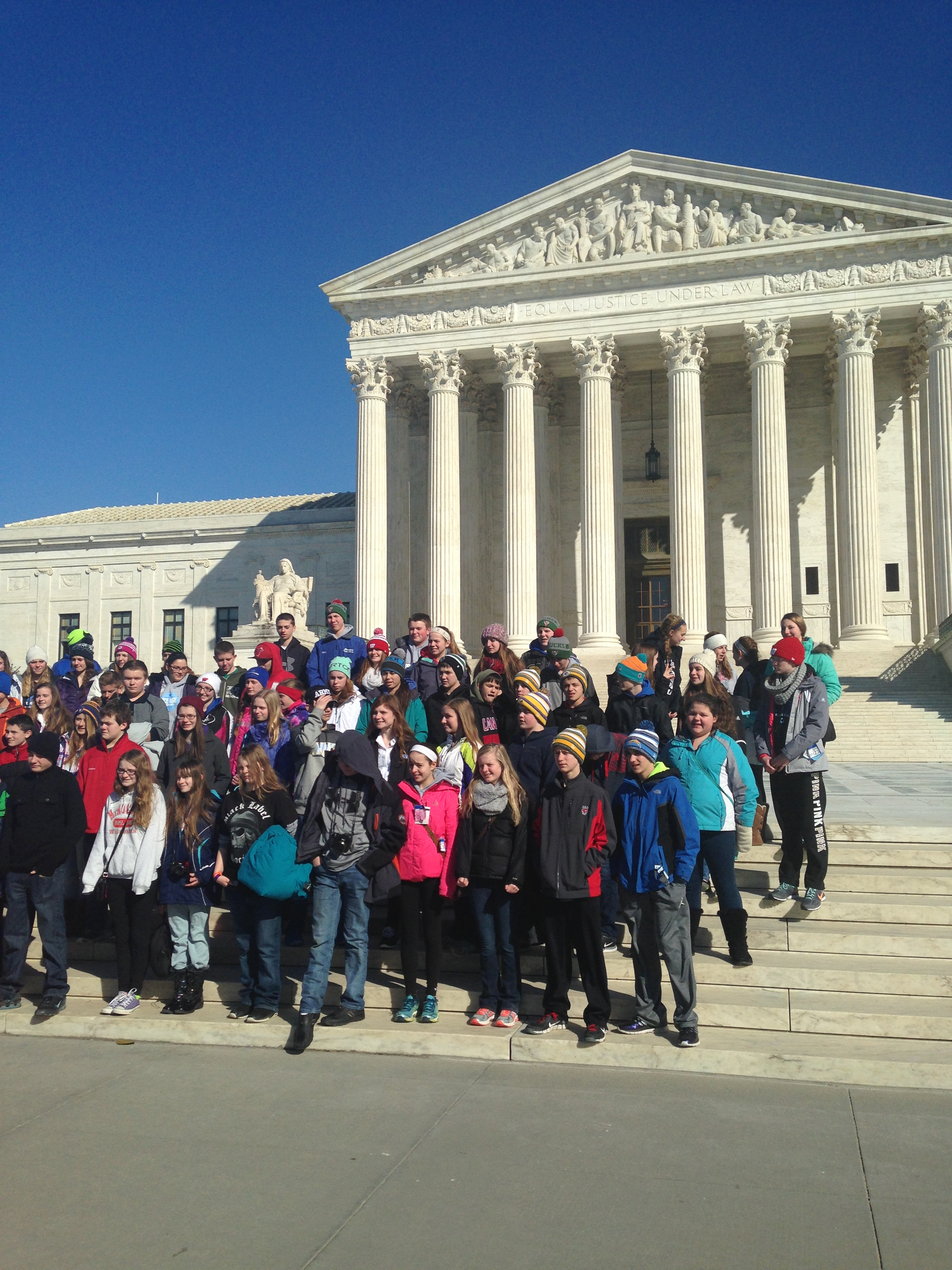 The kids in front of the Supreme Court.