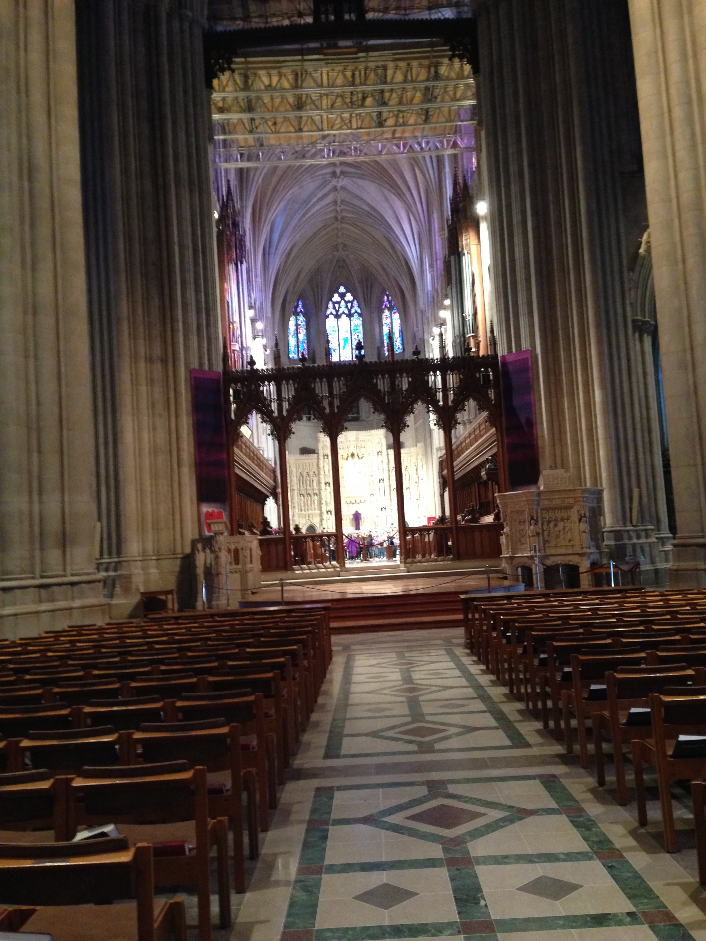 Looking toward the crossing area inside the National Cathedral.