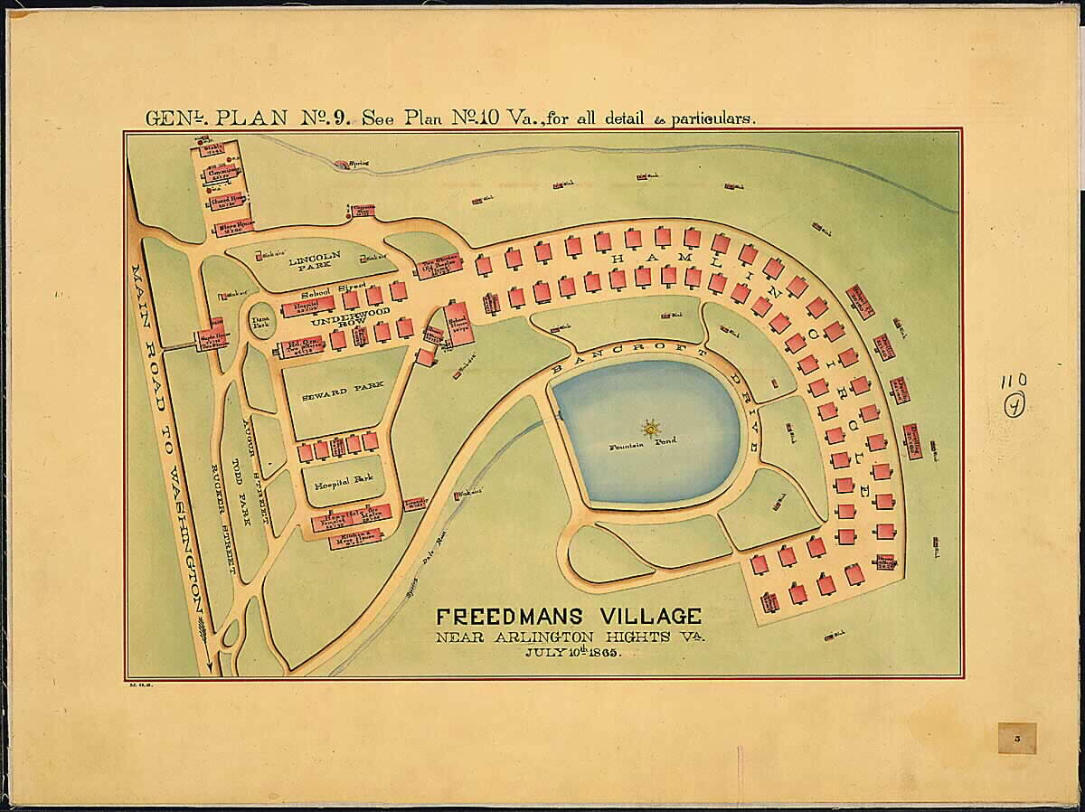 A map of the Freedman's village on the Arlington Estate