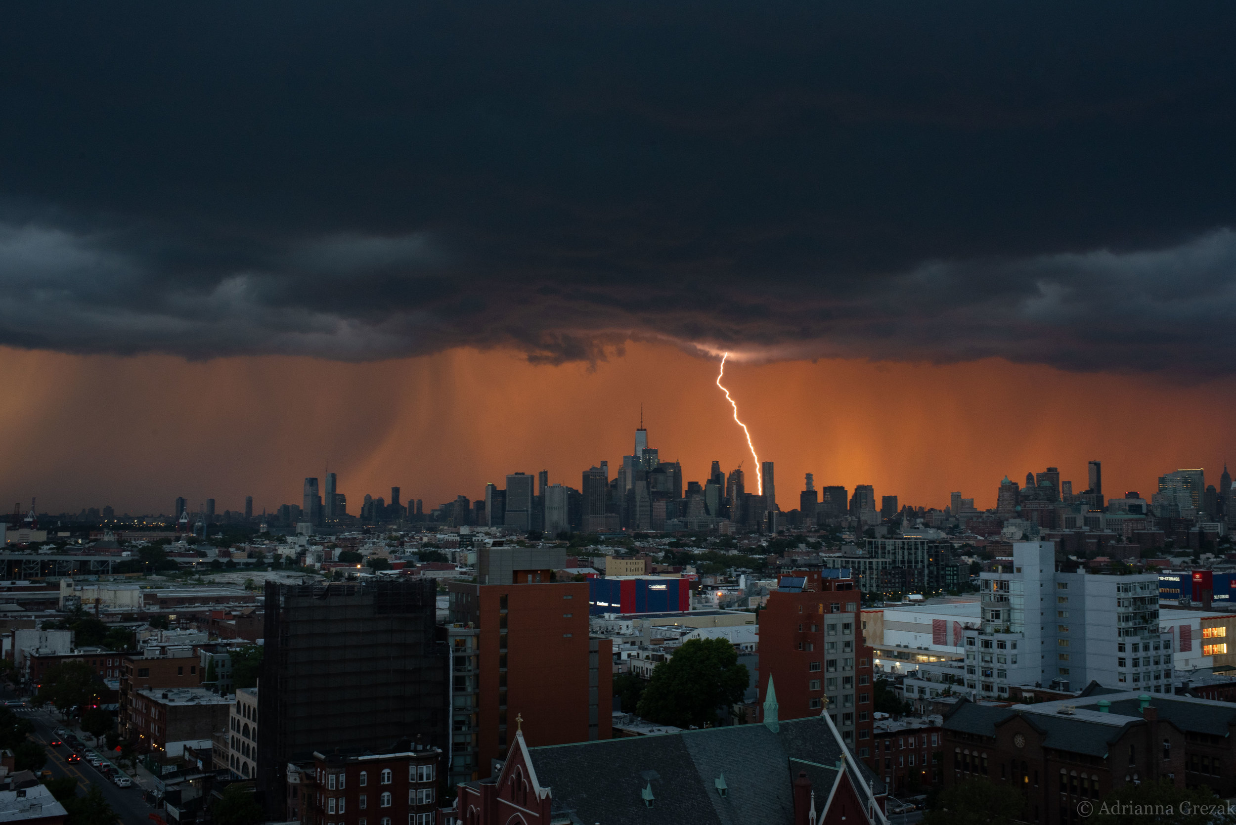 New York City Manhattan Lightning Strike Building Storm