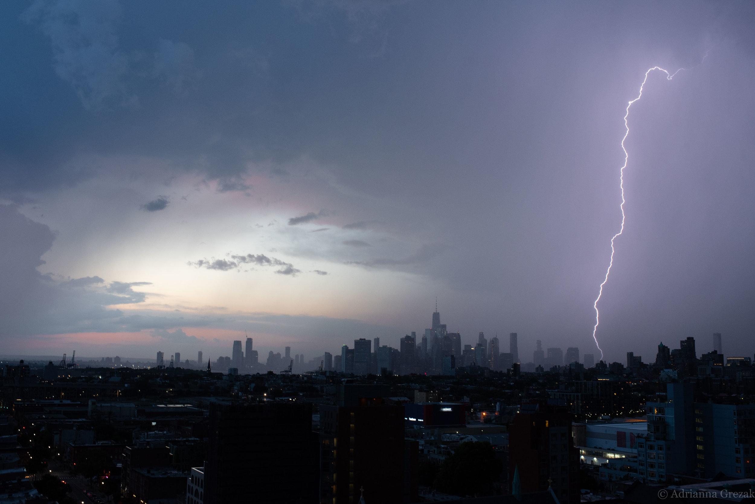 New York City Manhattan Lightning Strike Building Storm 3