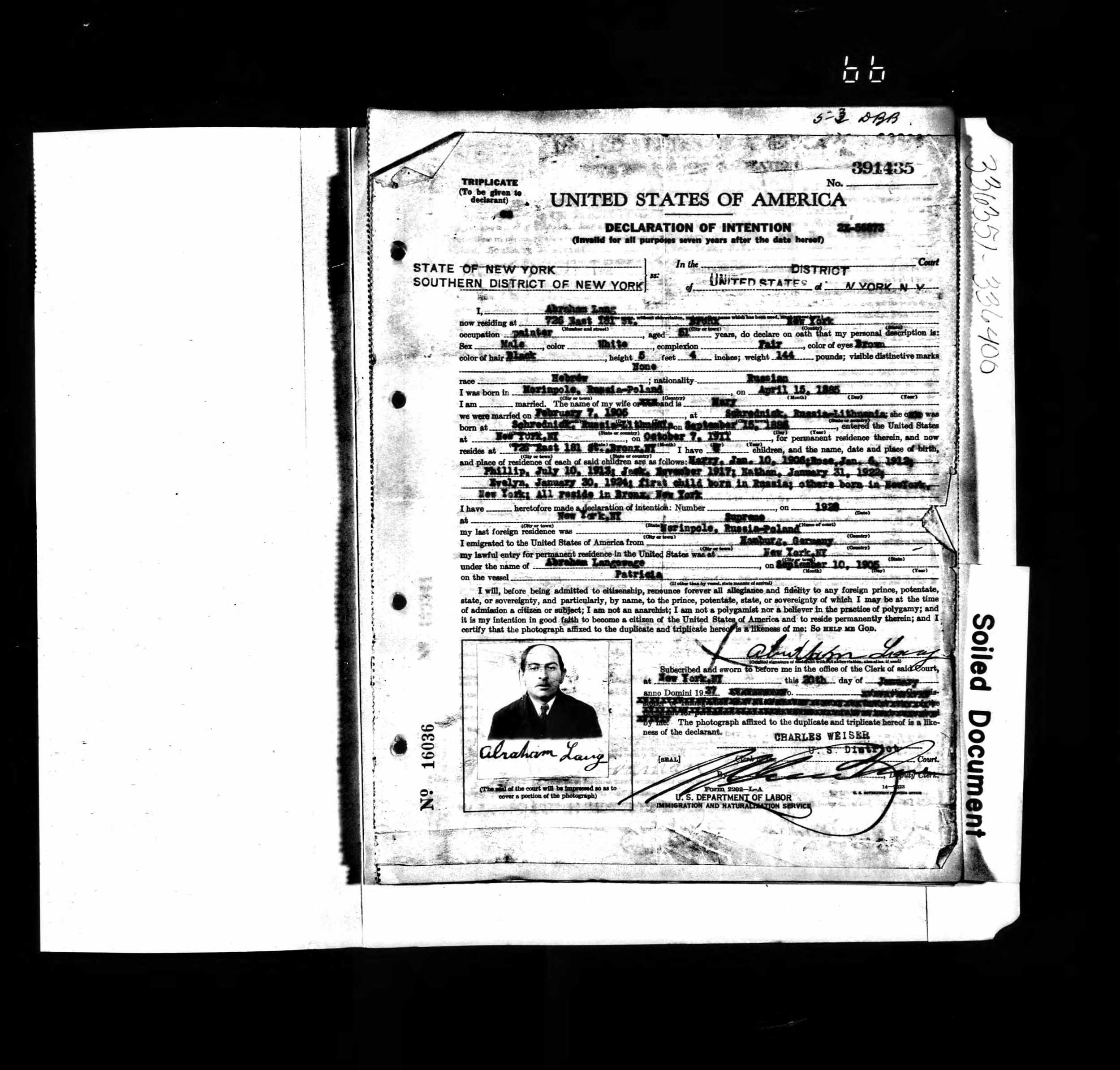 New York, Naturalization Records for Abraham Lang