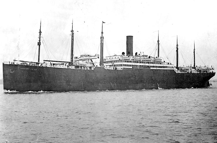 The  S.S. President Lincoln  of the Hamburg-America Line.