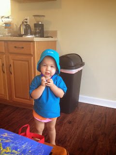 Trying on new swim attire.  Many thanks to Justice's Sunday School class at Nashville First Church of the Naz!