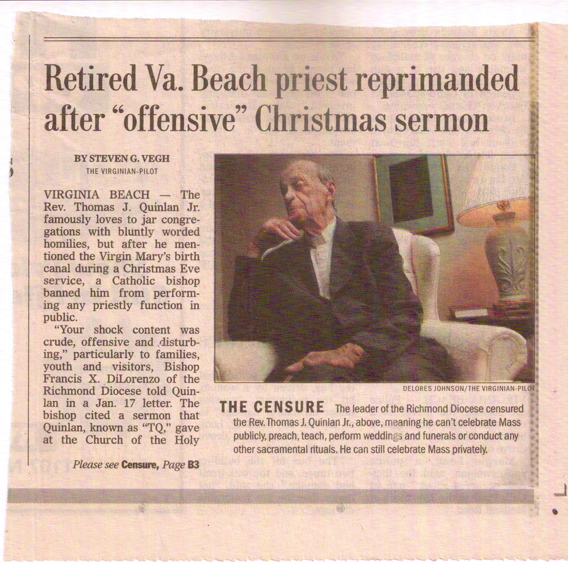 Virginian-Pilot article on TQ's reprimand