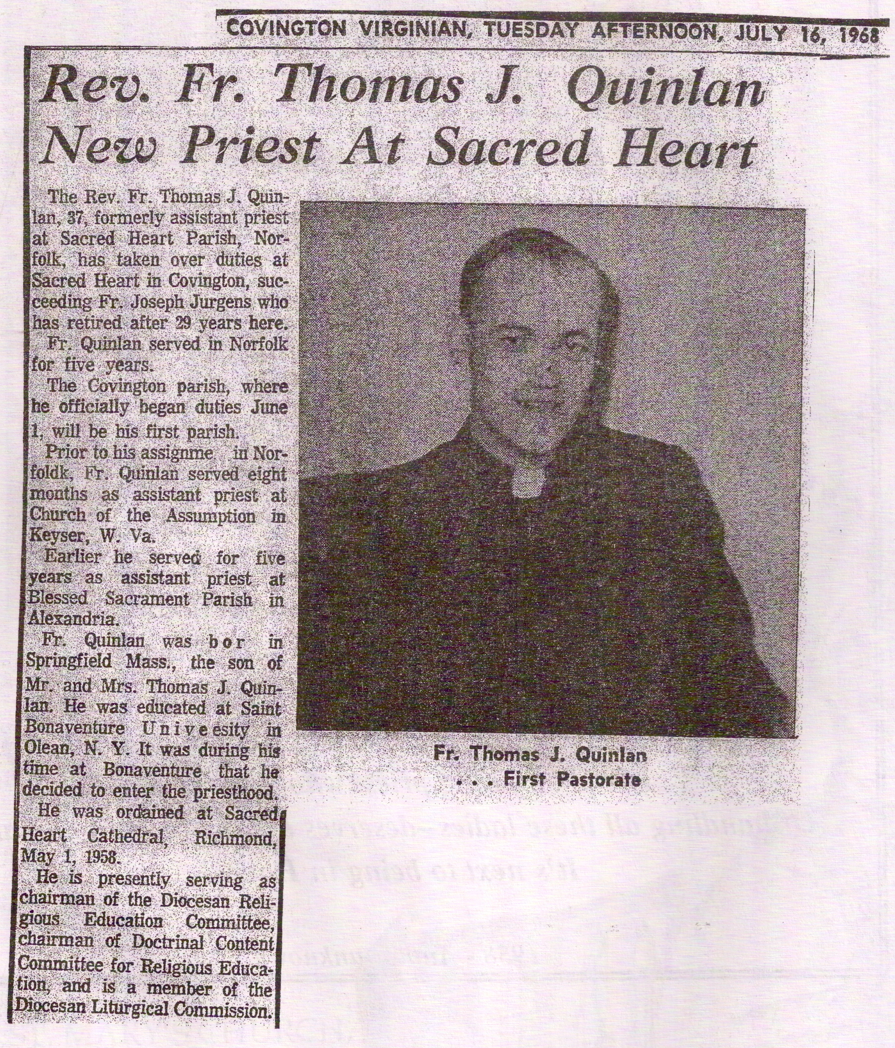 TQ as a young priest
