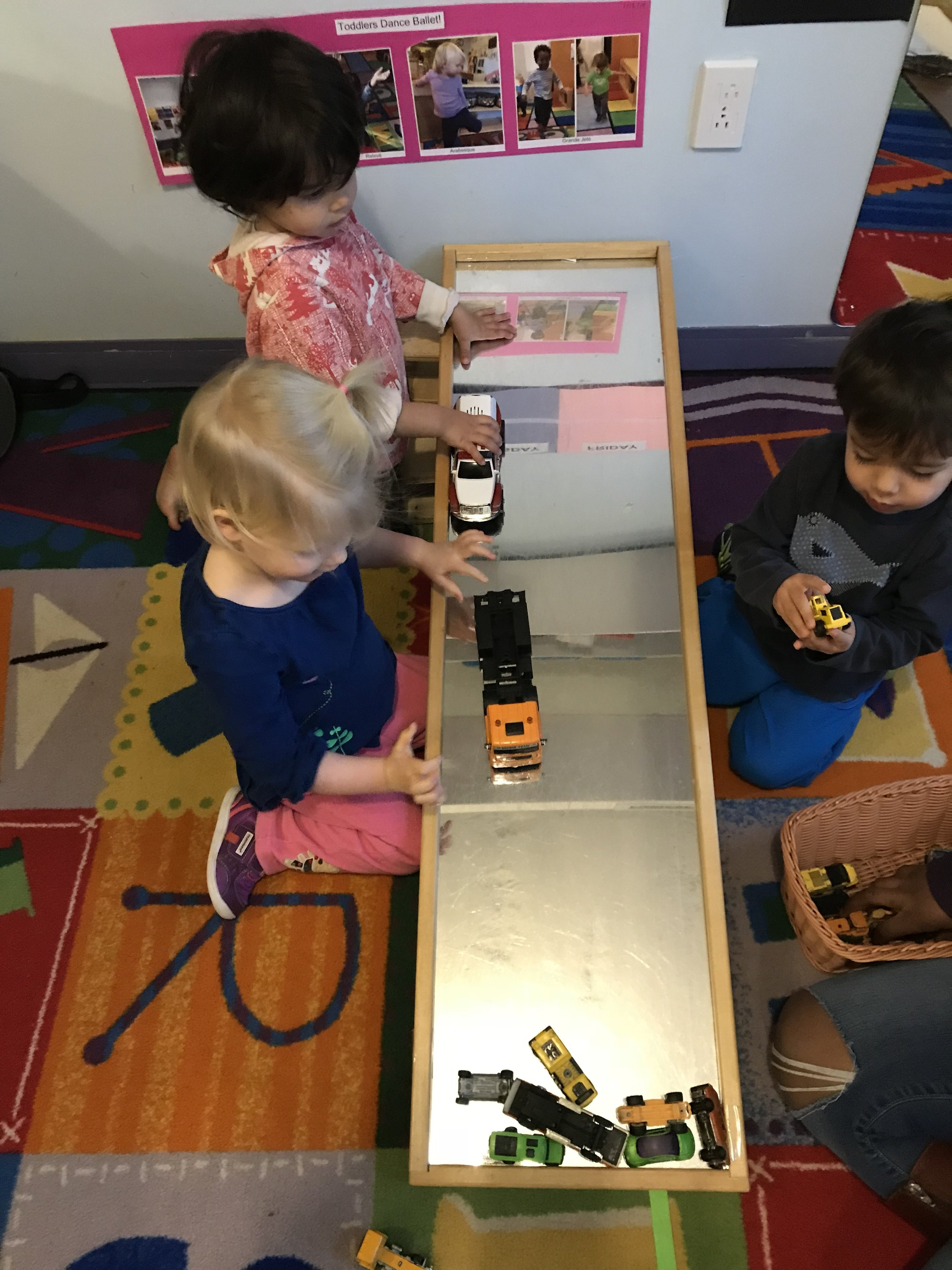 - Our toddler friends are exploring ramps-they are learning about distance-how far did it go? And speed-how fast? We take turns and share vehicles-social skills