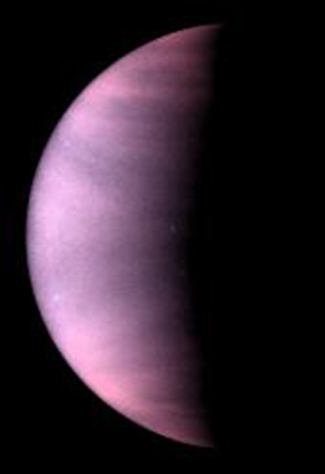 Clouds permanently obscure the surface of Venus. This ultraviolet-light image from NASA's Hubble Space Telescope uses false color to enhance the cloud features. (Image: Courtesy NASA/JPL)