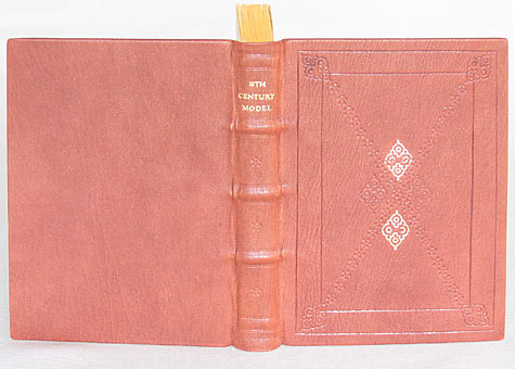 Binder: Heidi Ferrini, Model of 18th Century Full Leather Trade Binding. Full leather binding with gold and blind tooled decoration on front cover. Single flexible sewing around six- ply hemp cords is splayed out on laminated boards, with plain-leaved end papers, and double-core silk endbands.