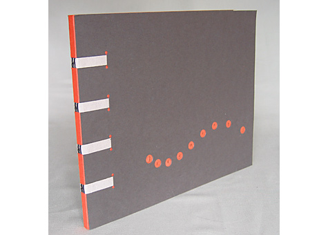 """Binder: Diana Goldstein. Gary Snyder, Fragments of a Poem. Concertina codex structure allows the book to be opened flat for display. Based on a poem by Gary Snyder, the """"rhythmic writings"""" in the text are similar to drawing, in that the meaning of a phrase gives shape to the design of the script."""