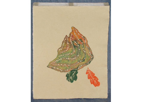 """Heidi S. Ferrini, """"First Rain"""" by Heidi S.Ferrini. Folded and bound with Italian longstitch into a Tim Barrett paper cover. A poem and 8 monoprints on hand torn Rives sheets. 10 1/4 x 8 1/4 x 1"""