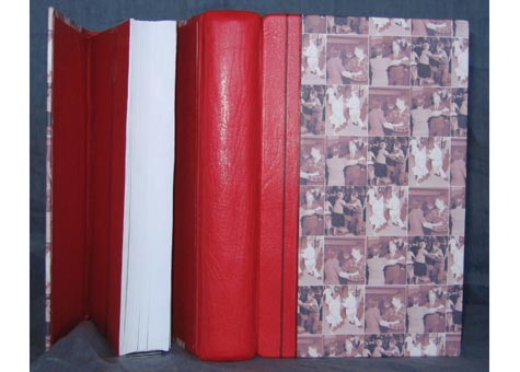 """Karen Hanmer, """"Bookbinding for Book Artists"""" by Keith Smith and Fred Jordan, 1998. """"Quick Leather Bindings"""" by Keith Smith. Dos-a-Dos format English style springback book of Harmatan Goatskin and paper by the binder: photos of square dancing couples courtesy of the Library of Congress. Red Moriki joint . Clamshell box covered in black Buckram. 9 5/8 x 5 3/4"""