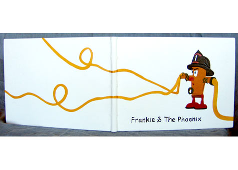 """Patricia Galante, """"Frankie & the Phoenix"""" by Nancy Watten Coopersmith. Concept and Model Fabriction by Marc Goldyne. Illustration by Marc Goldyne and Donald Fransworth. Full white buffalo leather binding with onlays of multicolor leather. A factual 1989 event during the 1989 San Francisco earthquake in the Marina district. 13 x 9 3/4 x 1"""