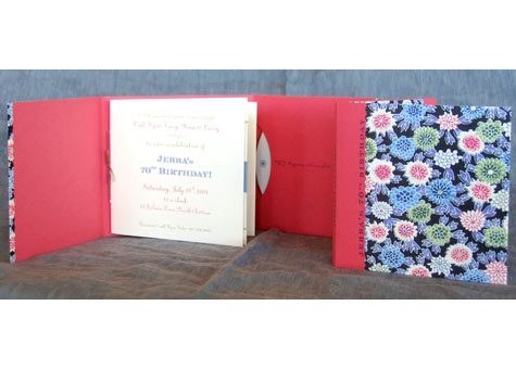 """Vail Maes, """"Birthday Invitation and CD holder."""" Japanese decorative paper, bookcloth, color xerox. Edition of 68. 5 1/4 x 5"""