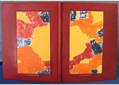 """Robert S. Rosenzweig, """"About Love"""" by Regina Kirschner-Rosenzweig & Robert Rosenzweig. Full crimson Harmatan goat leather with woodcuts on the pullout panels to hold up the open book. The joints are montage sur onglets and sewn on tapes, the fly leaves are of navy ultrasuede.The edge of the prints are hinged together so one sees directly from print to print with-out seeing the backside. All 15 original monotypes are by Regina, done between 1989 and 1995. A linen covered drop back box lined in Navy ultrasuede. """"About Love"""" was conceived, designed and bound by Robert from fall of 2003 and done by spring of 2005. 23 1/4 x 16 7/8"""