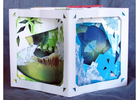 """Joanne Page, """"The Unicorn's Garden"""" by Joanne Page. A mixed media collage, artist book in carrousel structure. Paste paper by Claire Maziarczyk. 6 3/4/ x 51/4"""