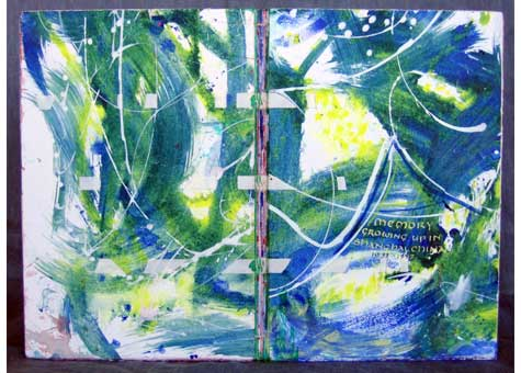 """Lily Stevenson, """"A memory: Growing up in Shanghai, China"""" 1933-1947. Sewn board binding in BFK Rives.paper. Multiple signature link stitch, linen thread over vellum and straps laced into covers. Acrylic, pastels, chalk, ink and gouache were applied to BFK Rives paper. Calligraphy was written using several sizes of hand-cut quills. Drop-spine box covered in cloth; lined with Bombay silk paper. 11 1/4 x 7 1/2 x 5/8"""