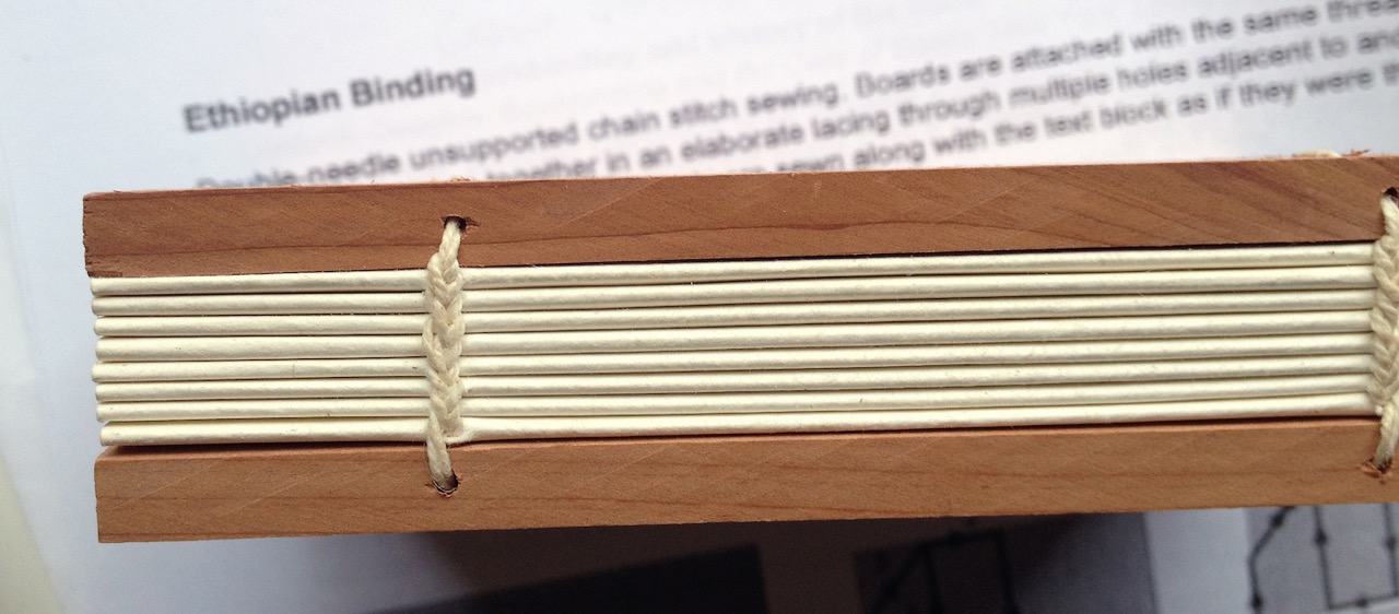 The Ethiopian bound book I made in class. The Coptic-like stitching is almost correct!Just a bit more practice!