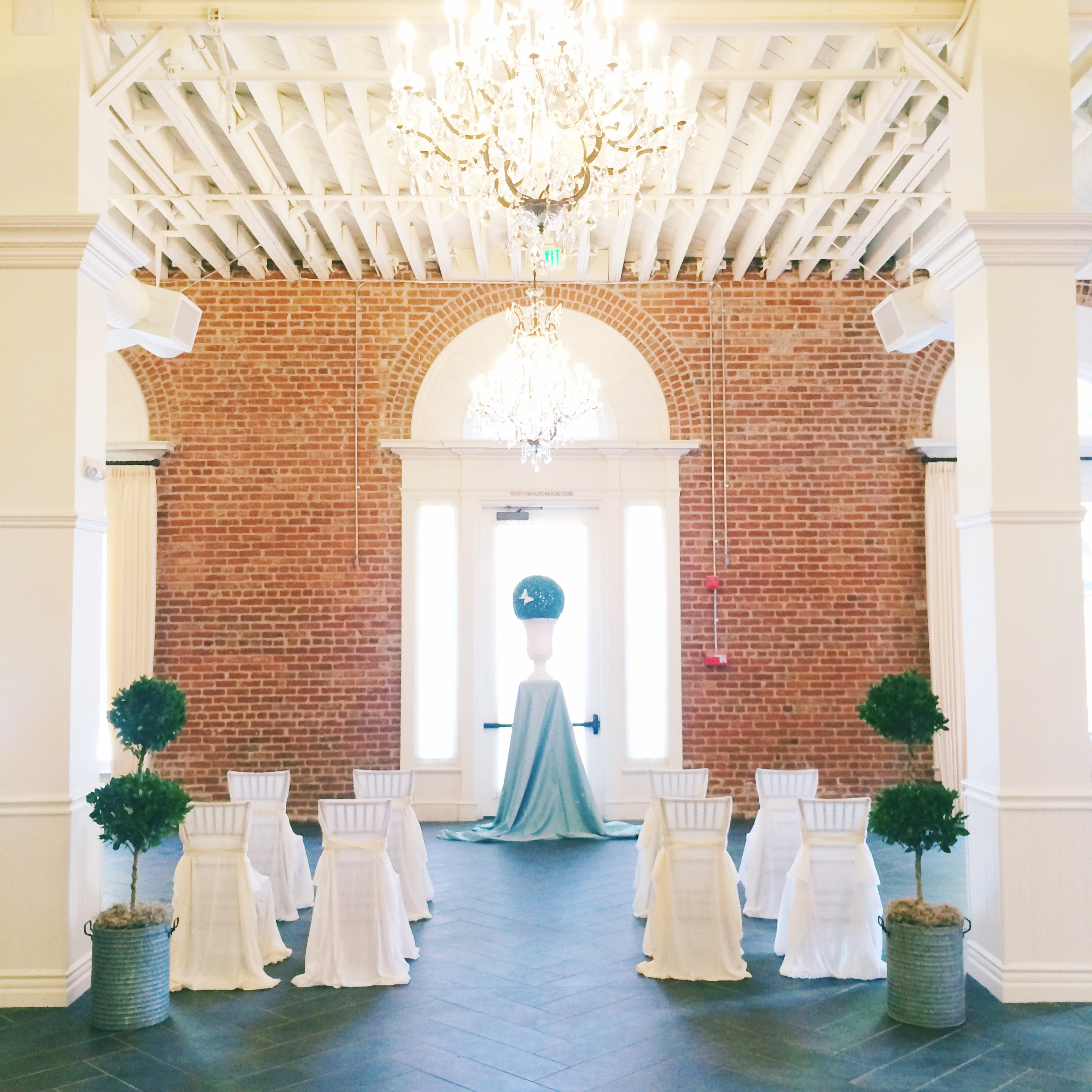 An iphone snap of the ceremony site, just inside the front door to the estate.