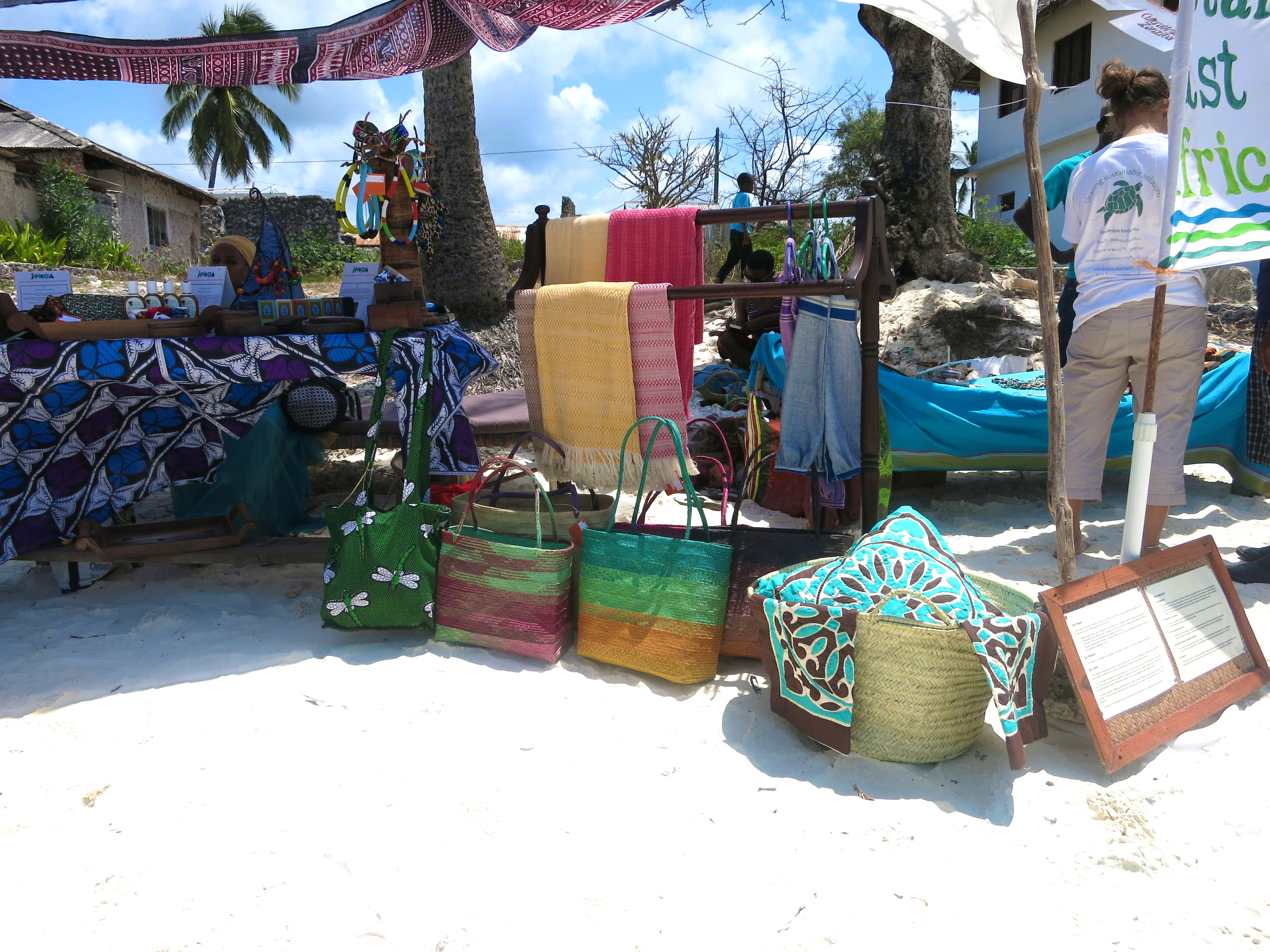 baskets fitting the white sand