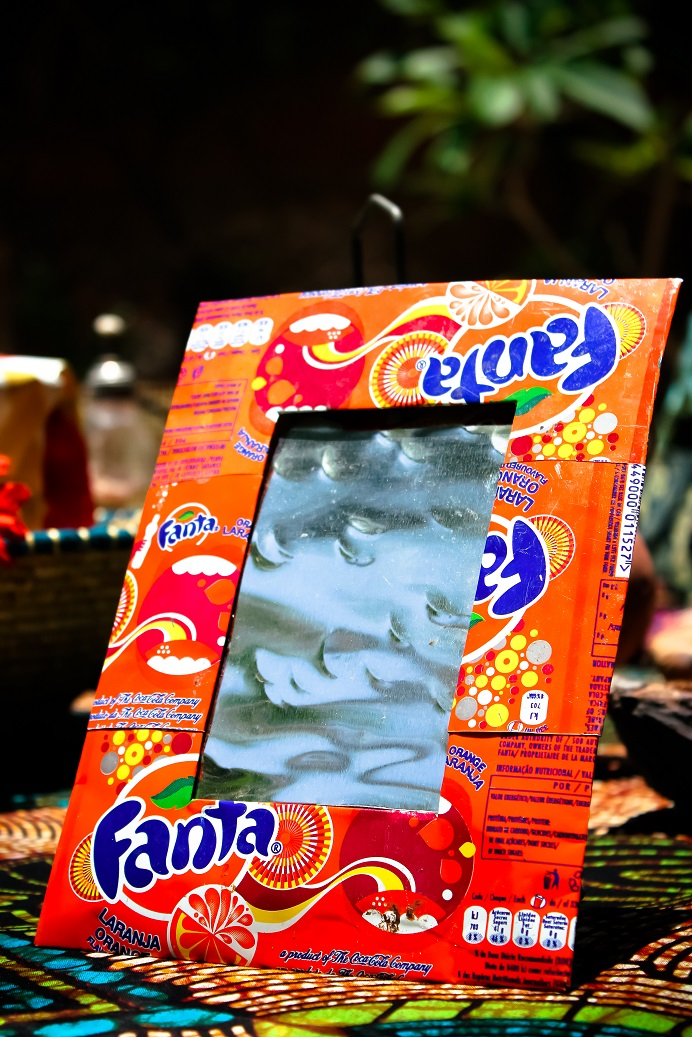 Picture frame recycled soda cans made by Africraft.jpg