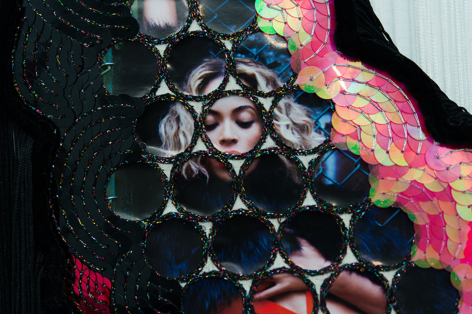 Feelin' Fine #5  (detail)2016, Beyoncé calendar, metallic thread, sequins, calico, tassel, velvet trim, string curtain, beads, MDF