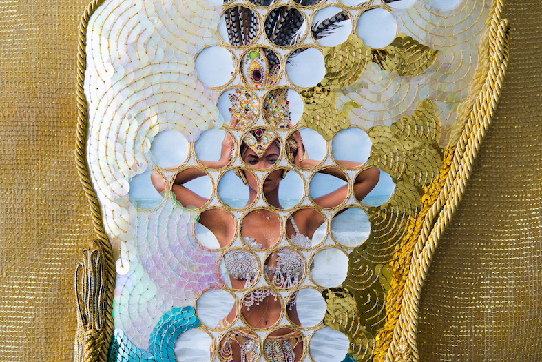 Feelin' Fine #4  (detail)  2016, Beyoncé calendar, metallic thread, sequins, calico, rope, trim, MDF, mesh