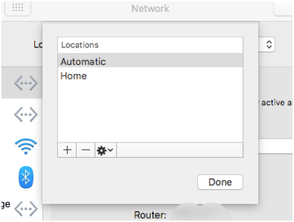 3. Add a new network location by clicking the plus symbol in the bottom left of the dialogue box. Name it whatever you like. Select the location you have just created and click done.