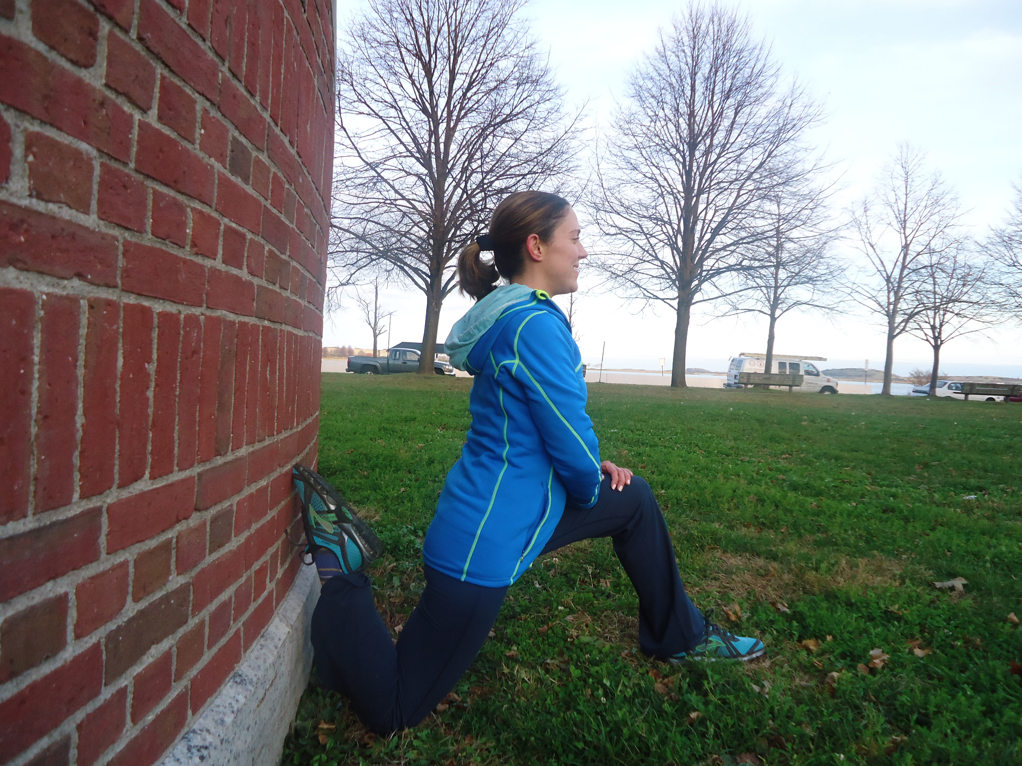 Quad stretch against wall. PS, must be done with a serious magazine face.