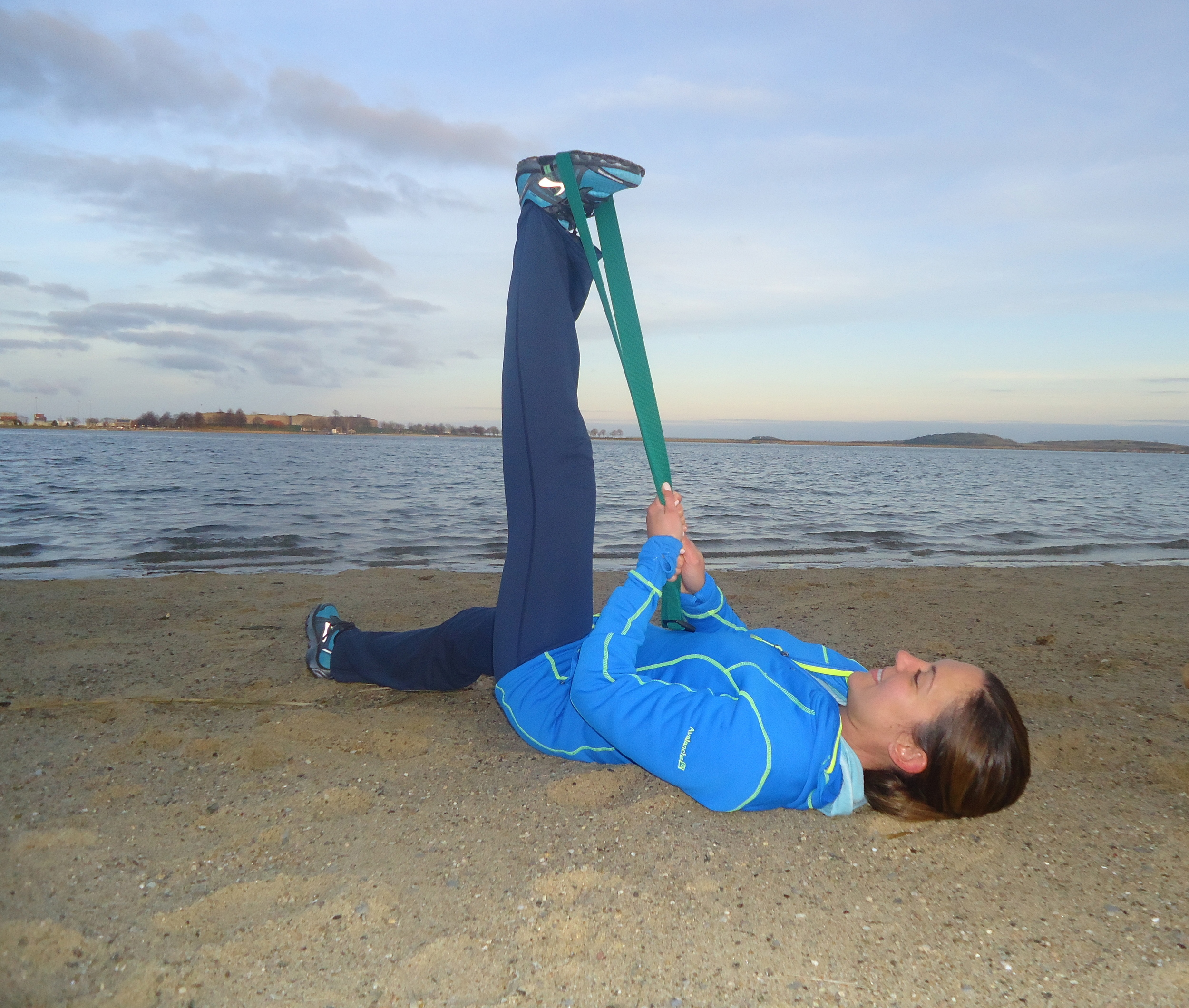 and finally...hamstring stretch with strap.