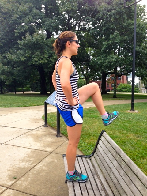 *Bench step ups. 30 (Remember step class?) Do whatever variation of this you like. I place my entire right foot on the bench as I lift my left leg to join it for the count of one. Then replace with the other foot.