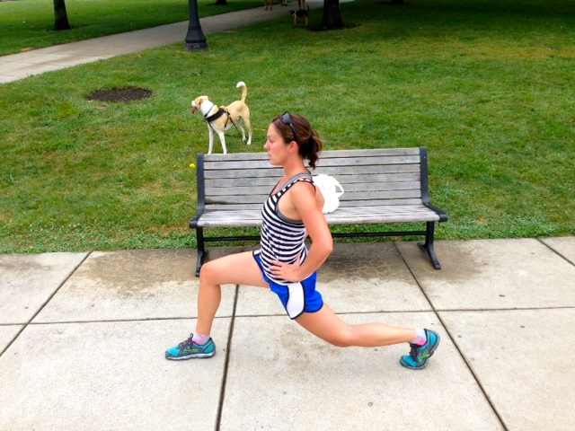 Slow lunges, 20 both sides