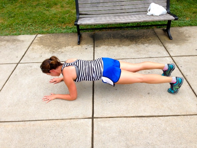 30 sec dolphin plank. Be sure to drop those hips and pull the belly in.