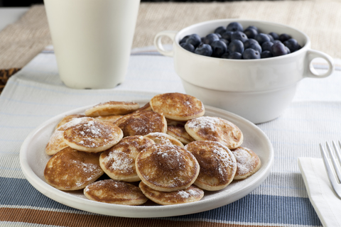 These grain free mini paleo pancakes are super simple to make and use very few ingredients. Who doesn't love an egg and banana pancake?